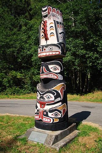 Kwakiutl Totem Pole near Port McNeill, Vancouver Island, British Columbia, Canada