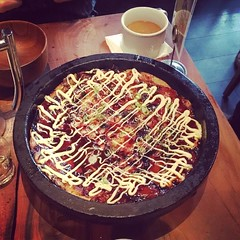 Okonomiyaki from Namu Gaji! Huge portion. Bonito on the side to make it selectively vegetarian. by noelleonflickr