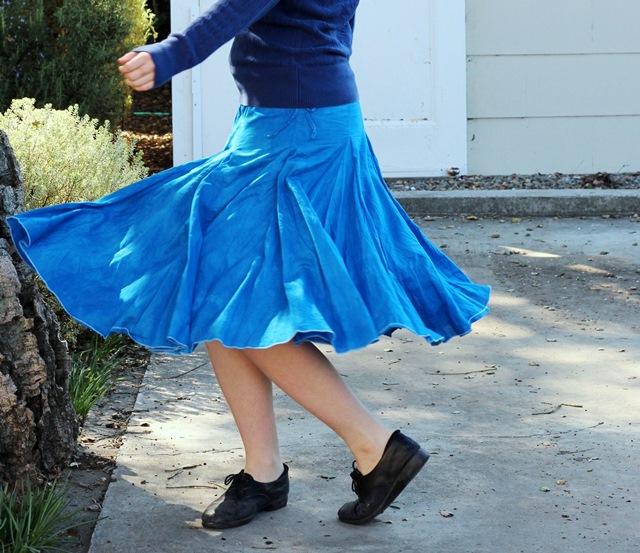 navy blue sweater, robin's egg blue skirt
