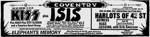 12/21-22-23/73 Isis/ Kiss/ Rags/ City Slicker/ Flaming Youth @ Coventry, Queens, NYC, NY