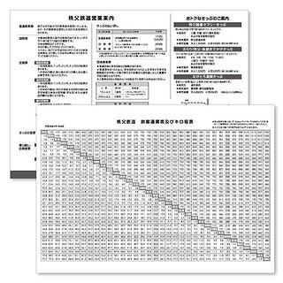 旅客運賃表およびキロ程表