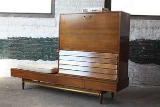 Wicked Mid Century Modern American of Martinsville Dania Collection Drop Down Desk Dresser Cabinet Credenza Bench (U.S.A., 1960s)
