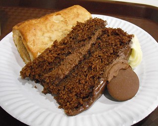 Cake and sausage roll
