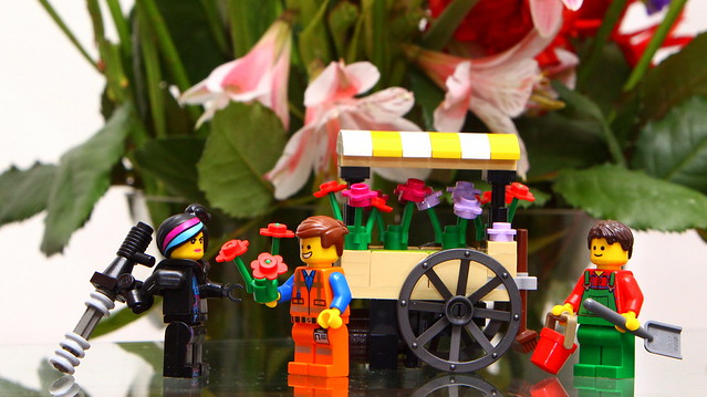 Caption This: Flower Cart + Emmet + Wyldstyle