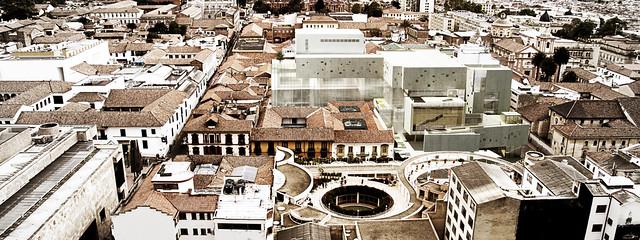 Vista aérea, Desarrollo ampliación teatro - Cristóbal colón.