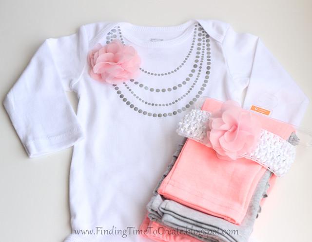 Baby necklace onesie 1