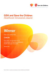 GSK and Save The Children Healthcare Innovation Award Certificate