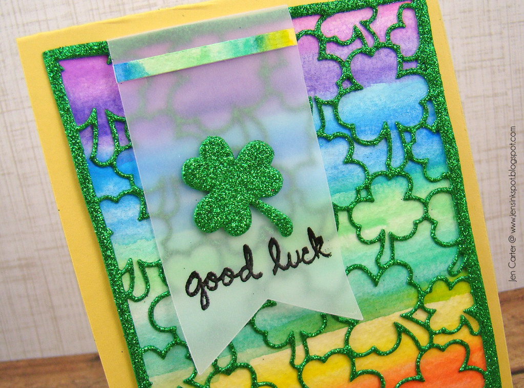 Jen Carter Frantic Stamper Good Luck Shamrock Closeup