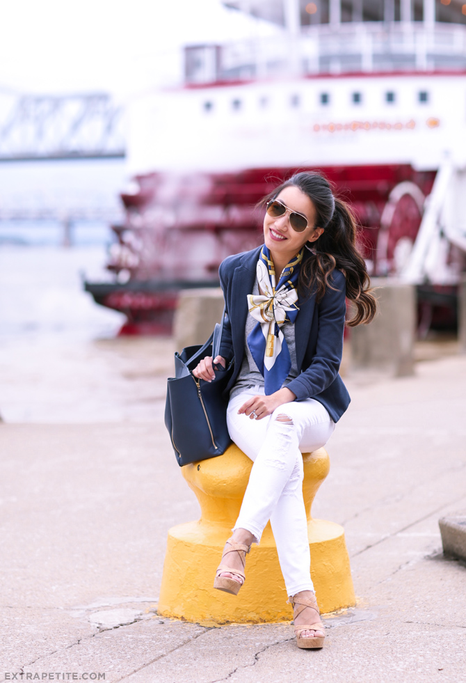 casual friday navy blazer white pants outfit