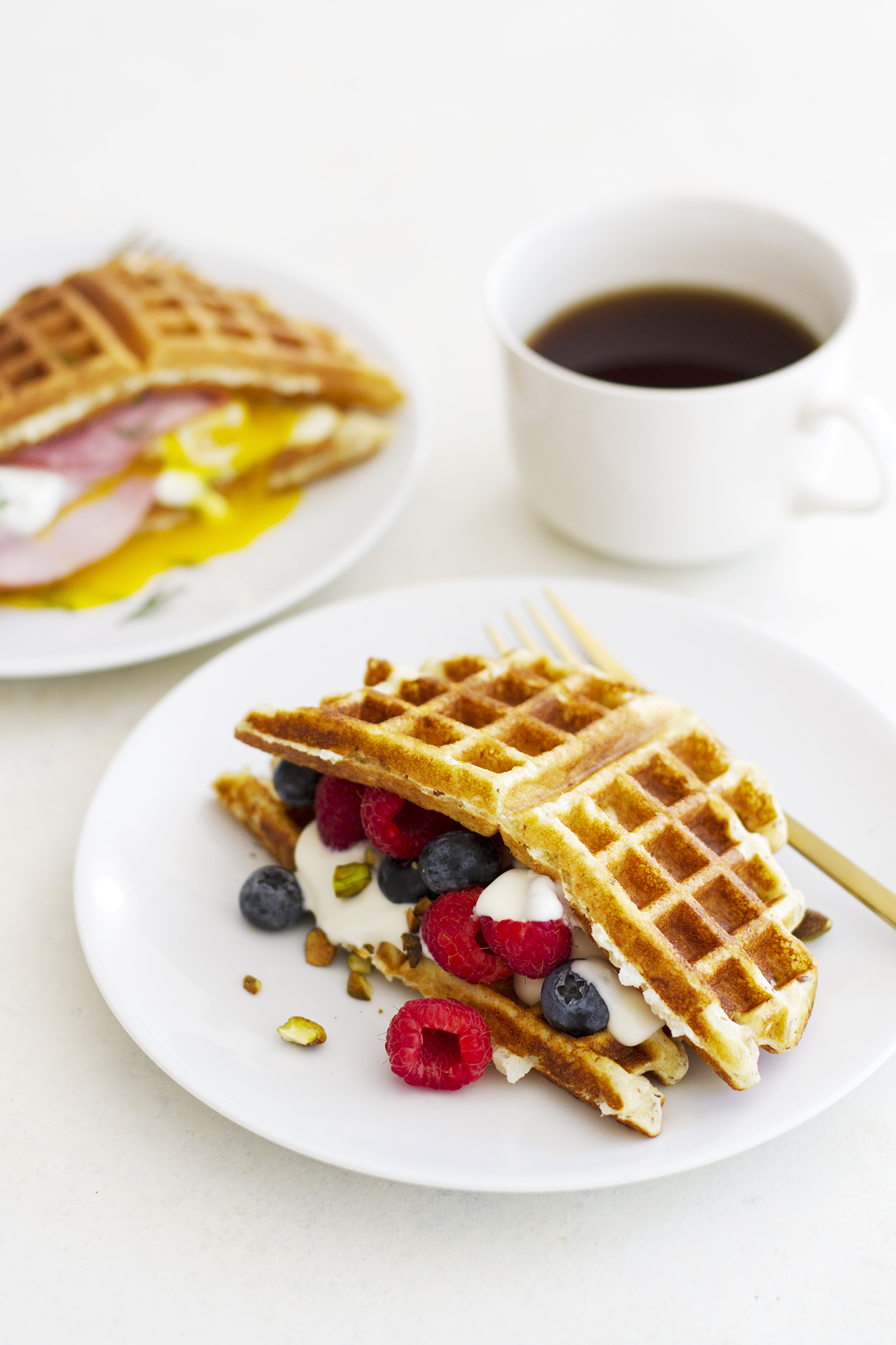 Sweet and Savory Gluten Free Waffle Breakfast Sandwiches | girlversusdough.com @girlversusdough