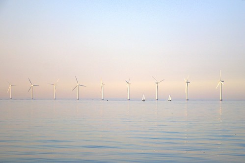Pastels, wind turbines and boats