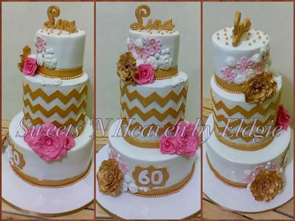 White, Gold and Pink 60th Birthday Cake by Sweets 'N Heaven by Eldgie