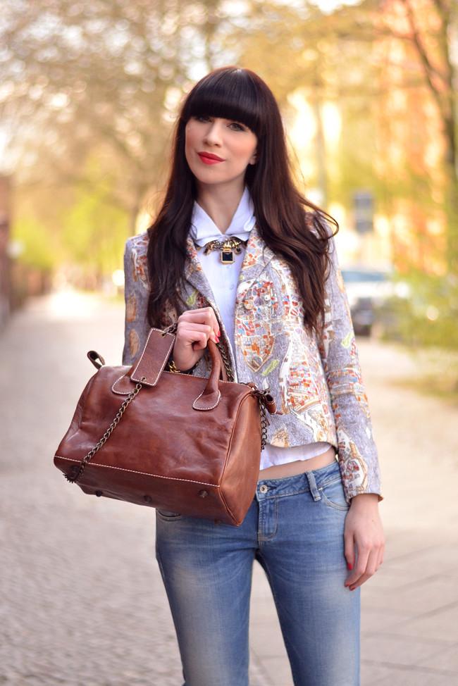 Rockmafia bag outfit Carven blazer 1