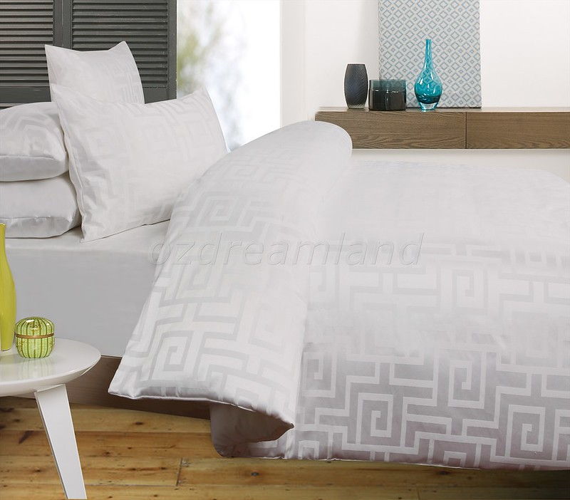 Hermes White Jacquard Quilt Cover Set Available In Single /Double ... : jacquard quilt - Adamdwight.com