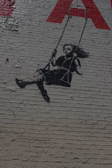 Banksy Girl on Swing - close up Los Angeles