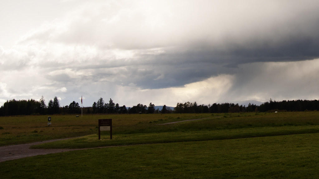 Dark skies over the barren Culloden Field - a chilly, spooky place