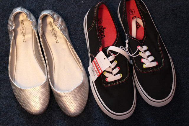 Silver Flats and Vans look-a-like Sneakers