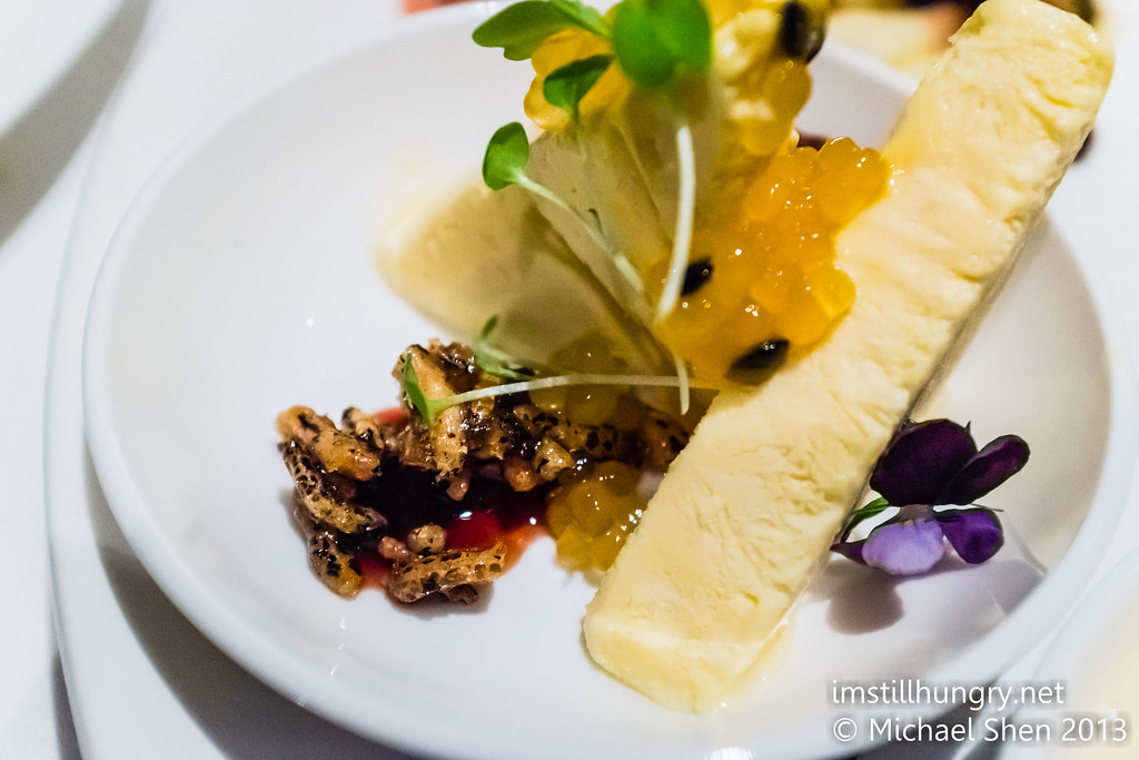 Passionfruit & yuzu parfait, tapioca pearls, caramelised puffed rice, aero chocolate Ezard