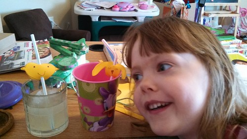 Lily with the 'fancy' straws we used in our homemade lemonade