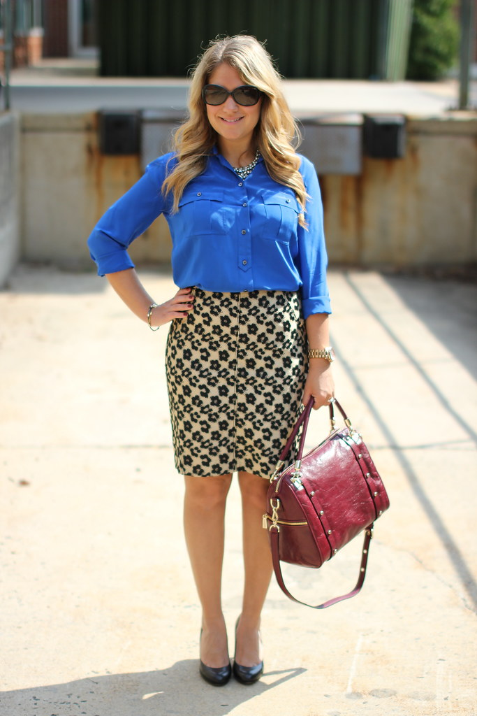 ann taylor abstract leopard skirt outfit