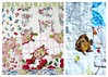 Two close-ups of Little Low Volume quilt by mishkathryn