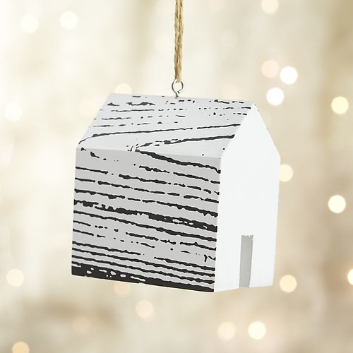 Crate & Barrel Wood Grain House Ornament