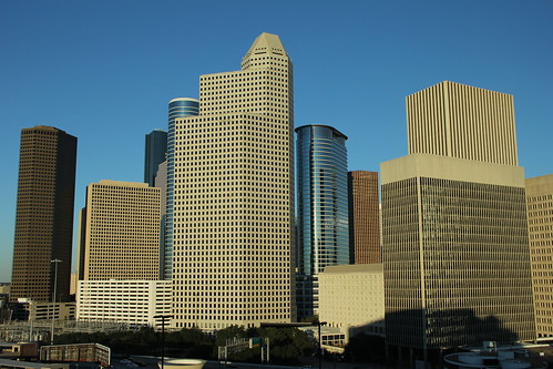 the view of downtown houston from my balcony and austin