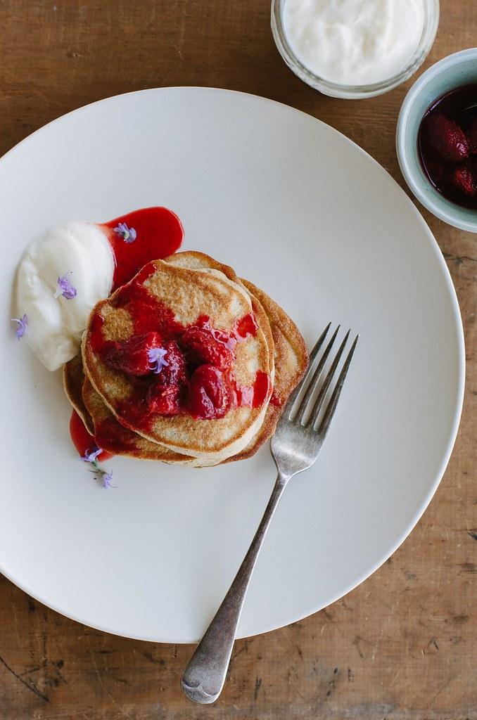 buckwheat pancakes with warm vanilla berries {gluten + dairy-free}