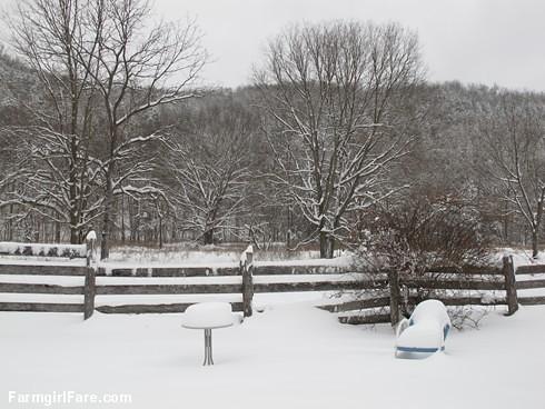 Farmyard snow scene - FarmgirlFare.com