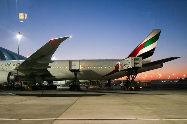 Emirates airplane in Dubai International Airport ドバイ国際空港