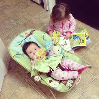 "Reading in their ""jammas"" as Claire likes to call them."