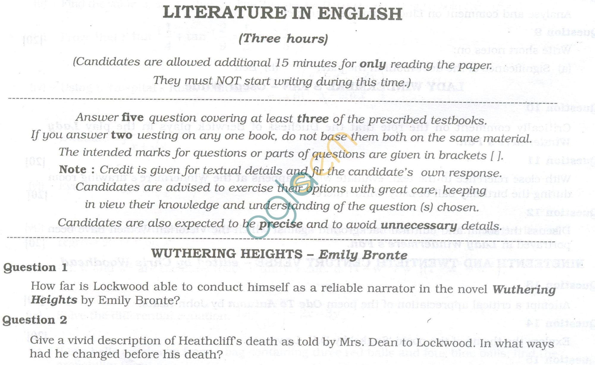 ISC Question Papers 2013 for Class 12 - Literature in English