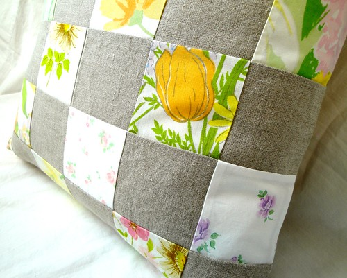 Linen patchwork pillow cover