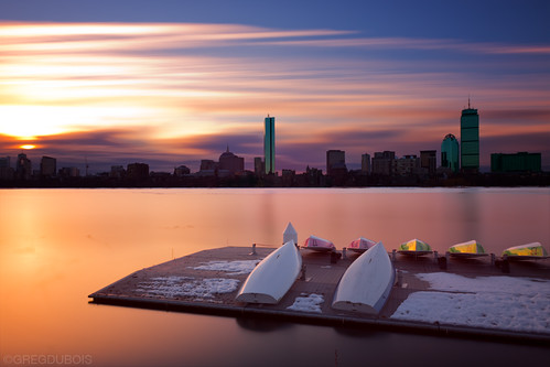 Sunrise over Boston Skyline, Charles River, and Boat Docks from Cambridge, MA by Greg DuBois Photography
