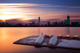 Sunrise over Boston Skyline, Charles River, and Boat Docks from Cambridge, MA