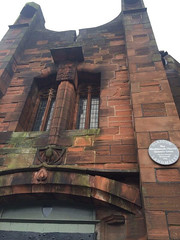 Photo of Queen's Cross Church, Glasgow and Charles Rennie Mackintosh brushed metal plaque