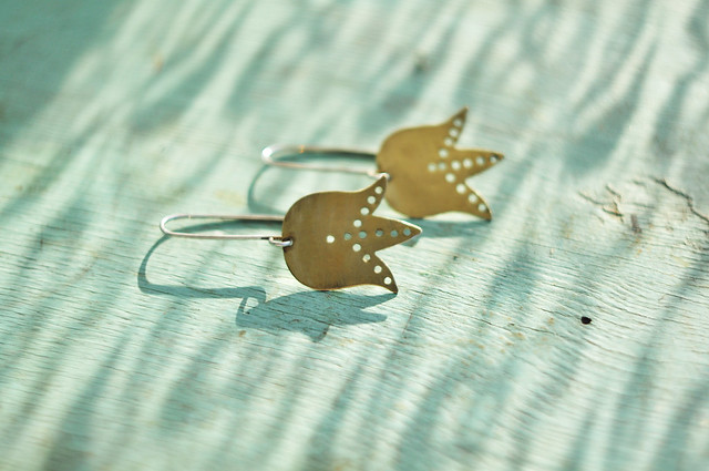 brass and silver flower earrings