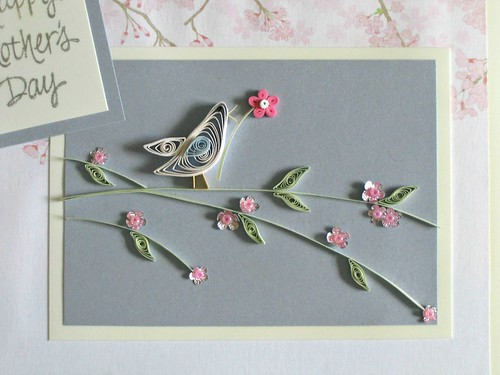 Quilled Mother's Day card with bird on branch