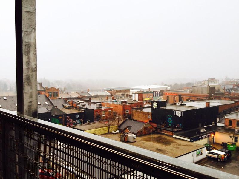 A foggy, rainy day.