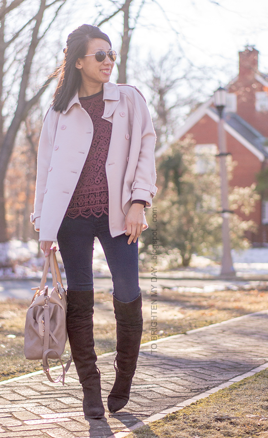 pink trench cape, burgundy lace top, brown suede over the knee boots