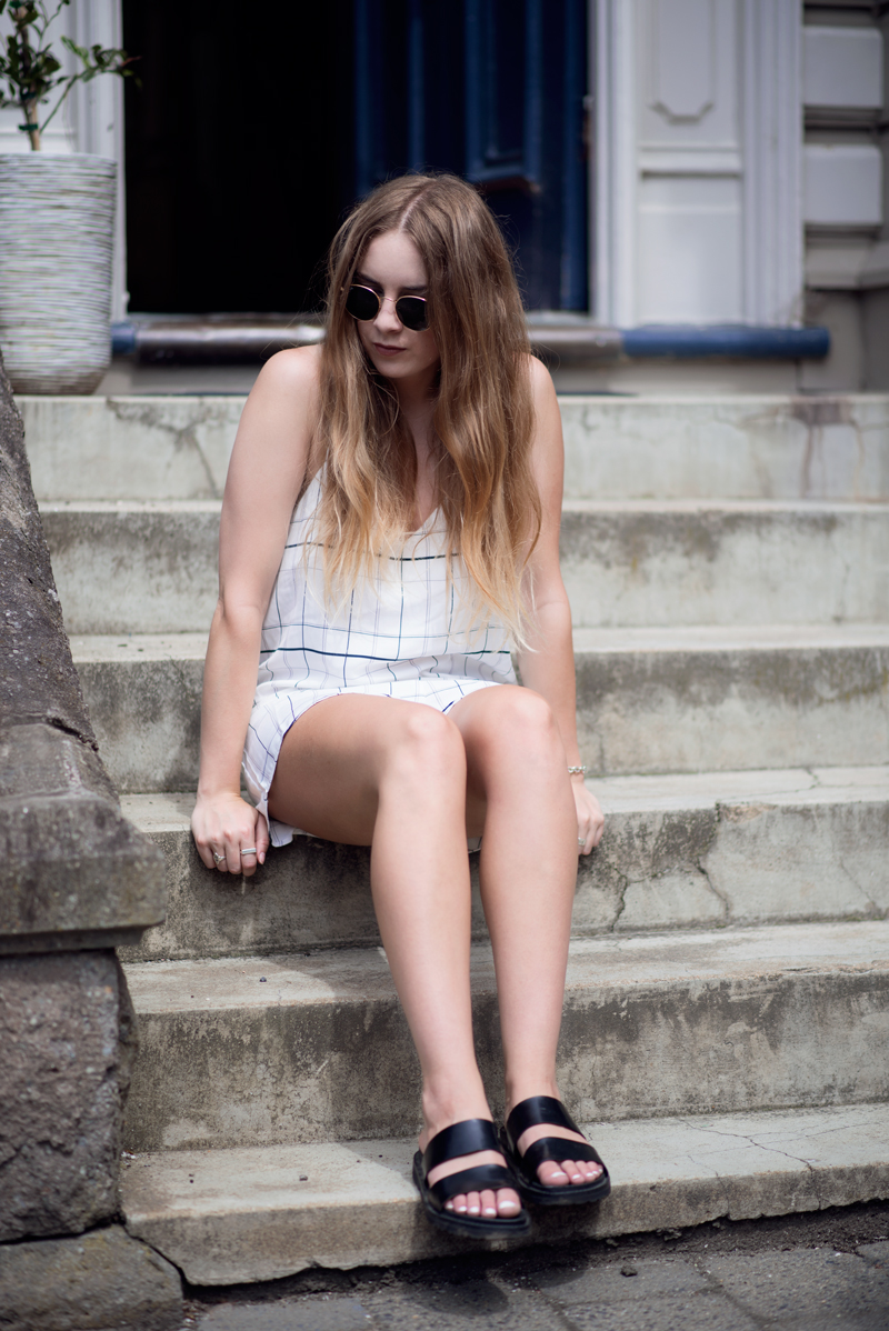 The Fifth Label Playsuit, Ray-Ban Sunglasses, Tony Bianco Slides