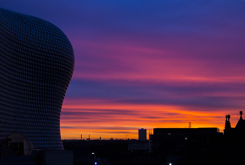 sky sunrise birmingham colours blues selfridges reds brumrise