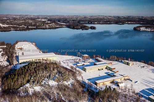vinter sverige industri swe västragötaland flygfoto billingsfors
