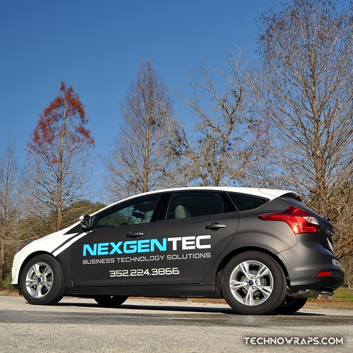 Partial car wrap on Ford Focus in Orlando