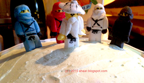 Lemon cake with Ninjago characters