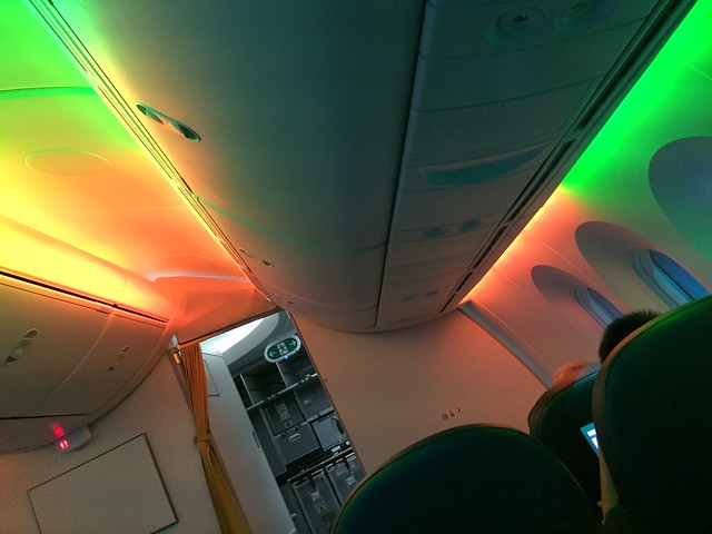 Rainbow lights in the business cabin