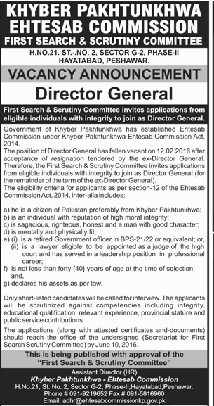 Khyber Pakhtunkhwa Eithesab Commission DG Required