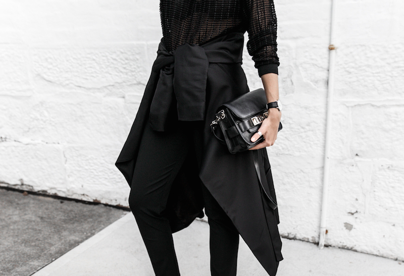 all black reiss modern legacy fashion blogger Gucci Princetown fur loafers Proenza Schouler PS11 mini outfit workwear 90s  (3 of 9)