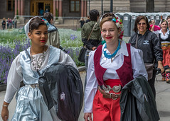 Hungarian Girls in Traditional Attire