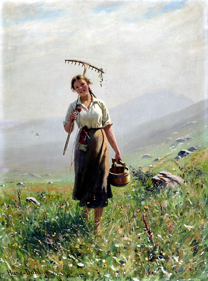 A Young Woman in the Meadow by Hans Dahl, 1894